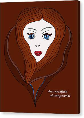 Canvas Print featuring the drawing She's Not Afraid Of Scary Movies by Frank Tschakert
