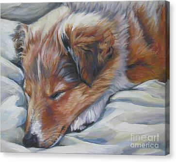 Shetland Sheepdog Sleeping Puppy Canvas Print by Lee Ann Shepard