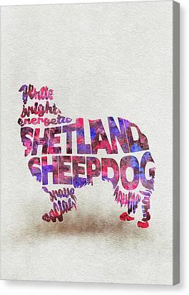 Shetland Sheepdog Canvas Print - Shetland Sheepdog Watercolor Painting / Typographic Art by Inspirowl Design
