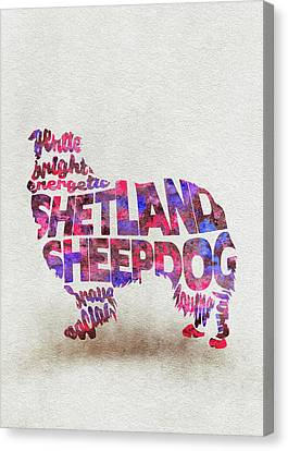 Canvas Print featuring the painting Shetland Sheepdog Watercolor Painting / Typographic Art by Inspirowl Design