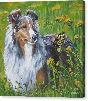 Shetland Sheepdog Wildflowers Canvas Print by Lee Ann Shepard