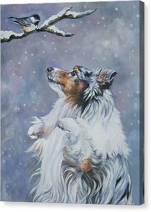 Christmas Dog Canvas Print - Shetland Sheepdog With Chickadee by Lee Ann Shepard