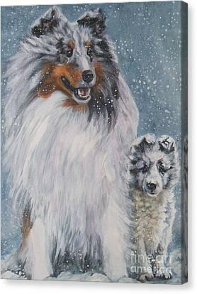 Shetland Sheepdogs In Snow Canvas Print by Lee Ann Shepard