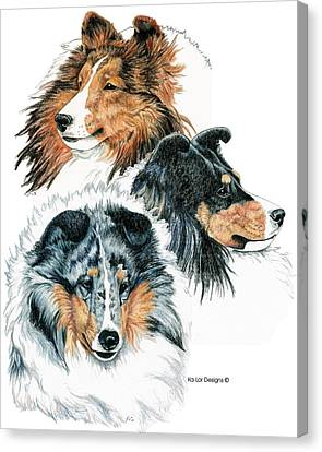 Shetland Sheepdogs Canvas Print by Kathleen Sepulveda