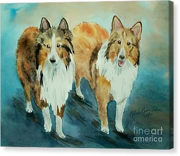 Shetland Sheepdogs My Beautiful Shelties Canvas Print by Melanie Palmer