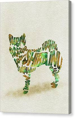 Canvas Print featuring the painting Shiba Inu Watercolor Painting / Typographic Art by Inspirowl Design