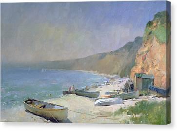 Shimmering Beach - Budleigh Salterton Canvas Print by Trevor Chamberlain