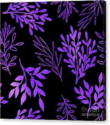 Shimmering Purple Leaves Nature Pattern Canvas Print by Tina Lavoie