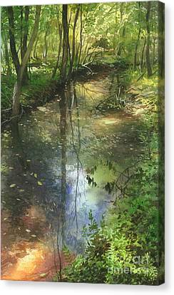 Canvas Print featuring the painting Shimmering Stream by Sergey Zhiboedov