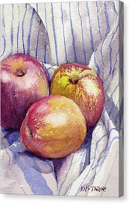 Shine On 3 Apples Canvas Print by Kris Parins