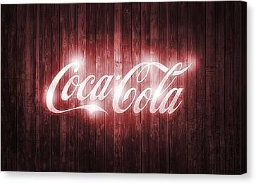 Old Barns Canvas Print - Shining Coca Cola Barn Door by Dan Sproul