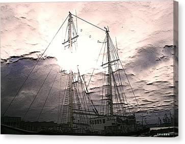 Canvas Print featuring the photograph Ship And Sun by Yury Bashkin