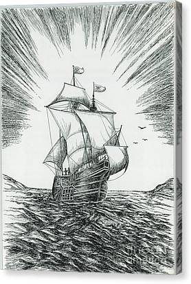 Ship At Daybreak Canvas Print by Samuel Showman
