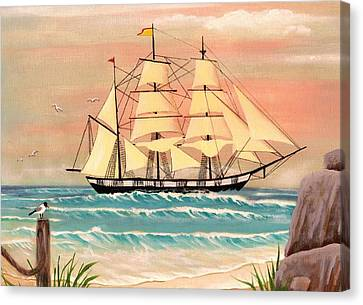 Ship At Sea Canvas Print by Eileen Blair