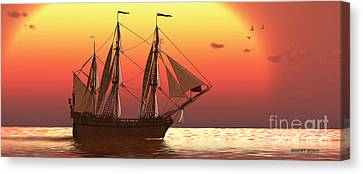 Ship At Sunset Canvas Print by Corey Ford