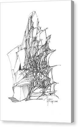 Ship Embedded In Rocks Canvas Print by Padamvir Singh