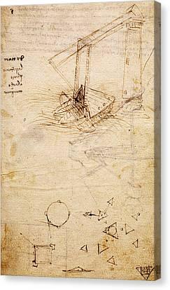 Ship, From Codex Trivulzianus, Folio 2 Recto Canvas Print by Leonardo Da Vinci