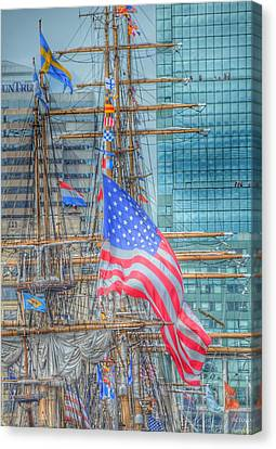 Ship In Baltimore Harbor Canvas Print by Marianna Mills