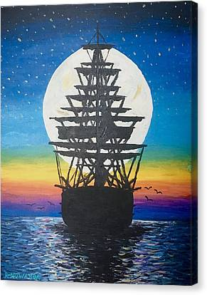 Ship In The Moon Canvas Print by Robbie Nuwanda