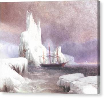 Ship In Winter Canvas Print by Georgiana Romanovna