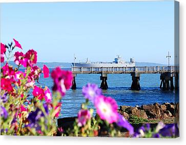 Ship On The Pier Canvas Print