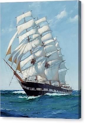 Ship Waimate - Detail Canvas Print by Montague Dawson