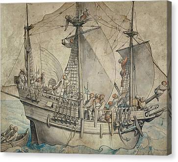 Ship With Revelling Sailors Canvas Print by Hans Holbein the Younger