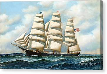 At Sea Canvas Print - Ship Young America At Sea by Pg Reproductions