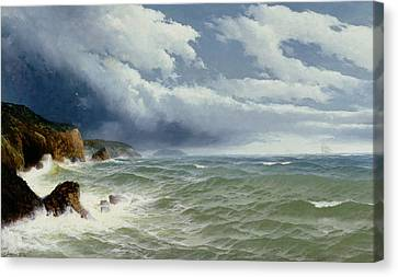 Shipping In Open Seas Canvas Print by David James