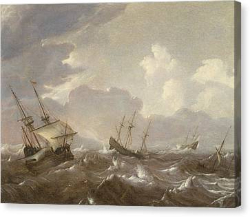 Shipping In The High Seas Canvas Print by Pieter the Elder Mulier