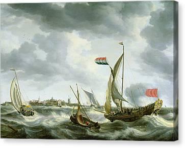 Ships At Sea  Canvas Print by Bonaventura Peeters