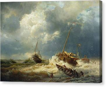 Ships In A Storm On The Dutch Coast Canvas Print by Andreas Achenbach