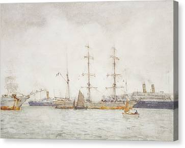 Ships In Harbor Canvas Print by Henry Scott Tuke