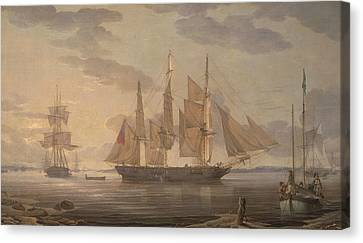 Ships In Harbor Canvas Print by Robert Salmon