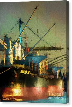 Pier Canvas Print - Ships by Marvin Spates