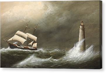 Water Vessels Canvas Print - Ships Passing Minot's Light by Clement Drew