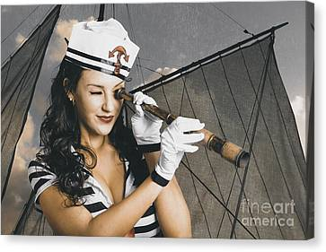 Shipshape Maritime Sailor Woman With Telescope Canvas Print by Jorgo Photography - Wall Art Gallery