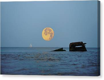 Shipwreck Moon - Cape May Canvas Print by Bill Cannon