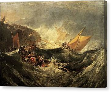 Canvas Print featuring the painting Shipwreck Of The Minotaur by J M William Turner