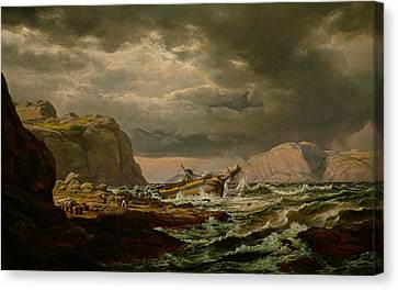 Norway Canvas Print - Shipwreck On The Coast Of Norway by Johan Christian Dahl