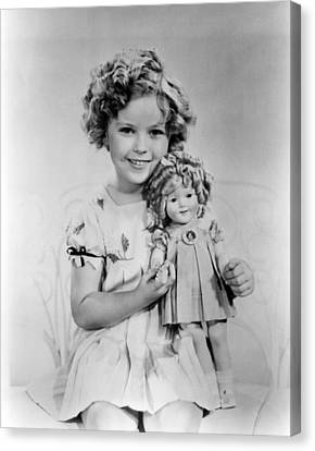 Shirley Temple With A Shirley Temple Canvas Print by Everett