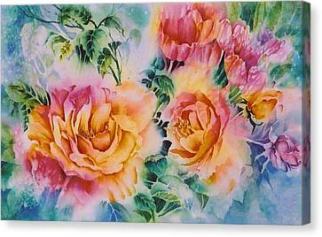 Shirleys-roses Canvas Print by Nancy Newman