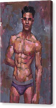 Shirtless On Grey Background Canvas Print