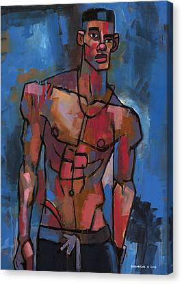 Shirtless With Blue Background Canvas Print by Douglas Simonson