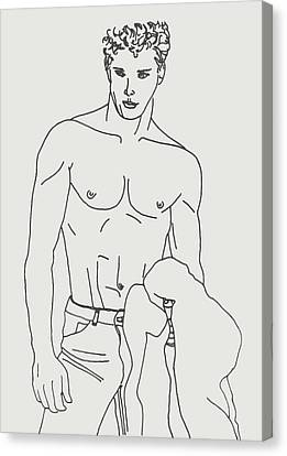 Shirtless Young Male Canvas Print by Sheri Buchheit