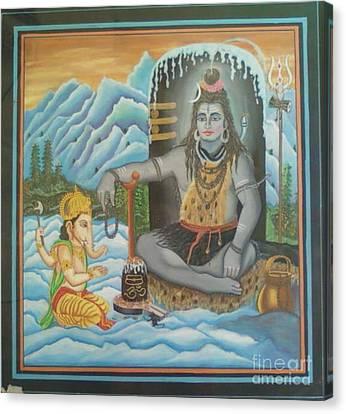 Shiv Ji Nd Ganesh Ji Canvas Print by Ravi Kumar