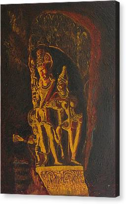 Shiva Parvati Canvas Print by Bindu Bajaj