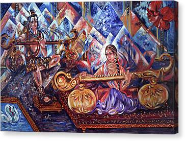 Parvati Canvas Print - Shiva Parvati by Harsh Malik