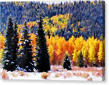 Canvas Print featuring the photograph Shivering Pines In Autumn by Diane Alexander