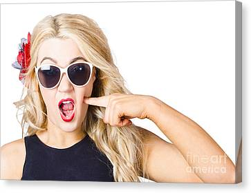 Shocked Blonde Makeup Woman. Cosmetic Application Canvas Print by Jorgo Photography - Wall Art Gallery